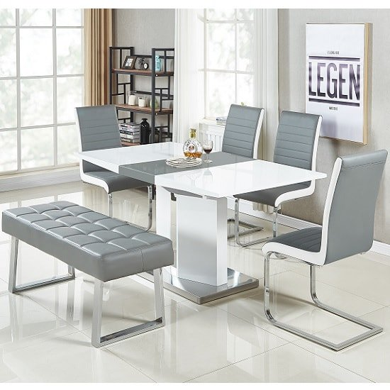 White Dining Table Bench: Belmonte Small Extendable Dining Set With Bench In White Gre