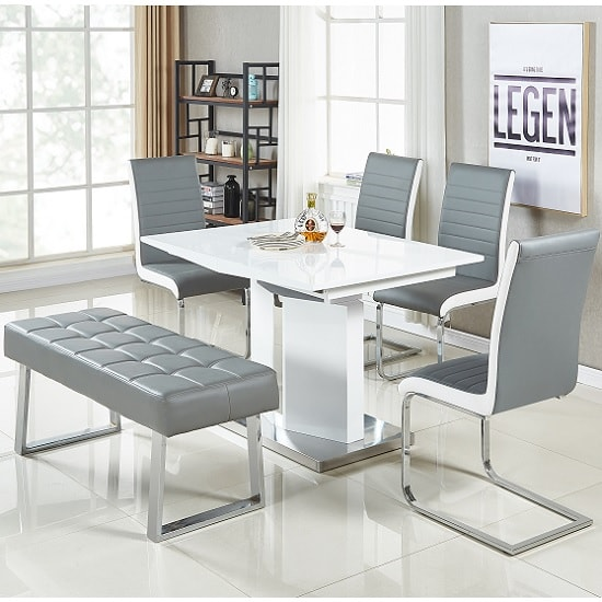White Grey Belmonte Small Extendable Dining Set With Bench