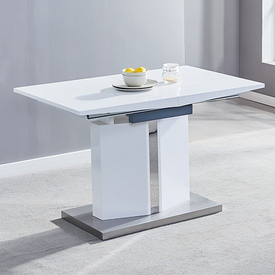 Belmonte Extendable Dining Table Small In White And Grey Gloss_2