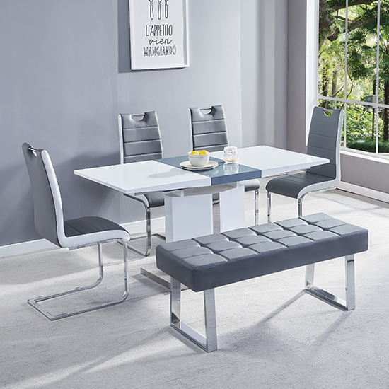Belmonte Extendable Dining Table Small In White And Grey Gloss_3
