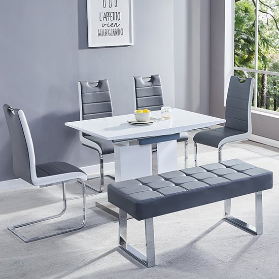 Belmonte Extendable Dining Table Small In White And Grey Gloss_4