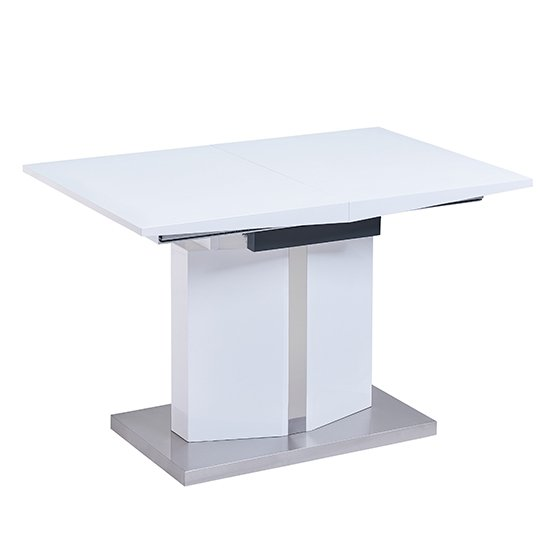 Belmonte Extendable Dining Table Small In White And Grey Gloss_6
