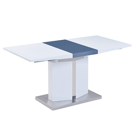 Belmonte Extendable Dining Table Small In White And Grey Gloss_5