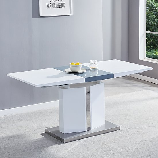 Belmonte Extendable Dining Table Small In White And Grey Gloss_1