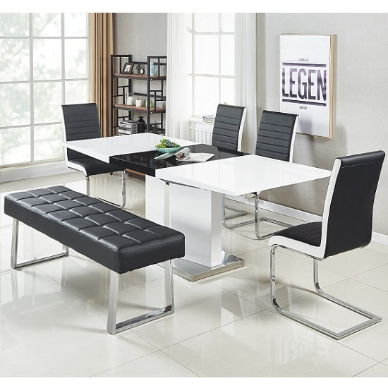 Austin Dining Bench Large In Black Faux Leather With Chrome Base_2