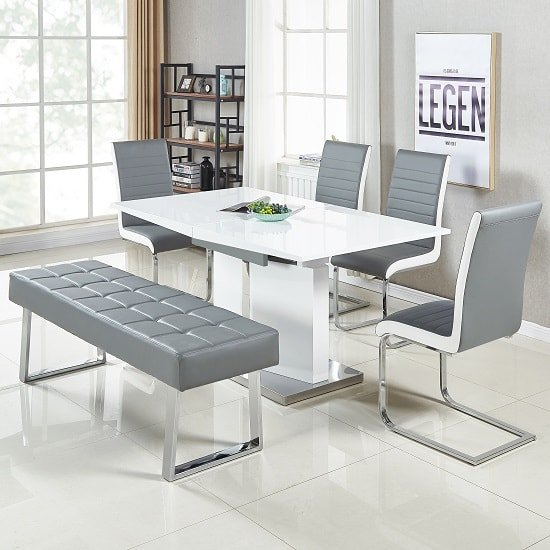 Austin Dining Bench Large In Grey Faux Leather With Chrome Base_3