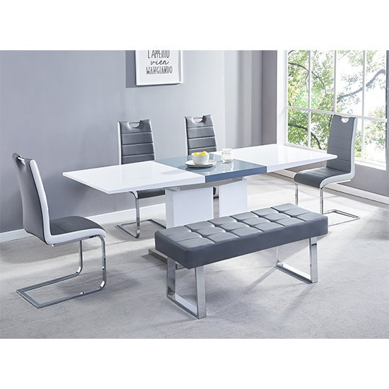 Belmonte Large Extending Dining Set With Bench In Grey White
