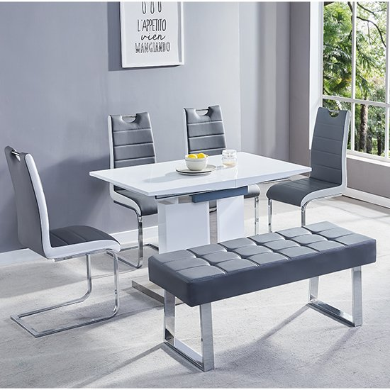 Belmonte Small Extending Dining Set With Bench In Grey White_2