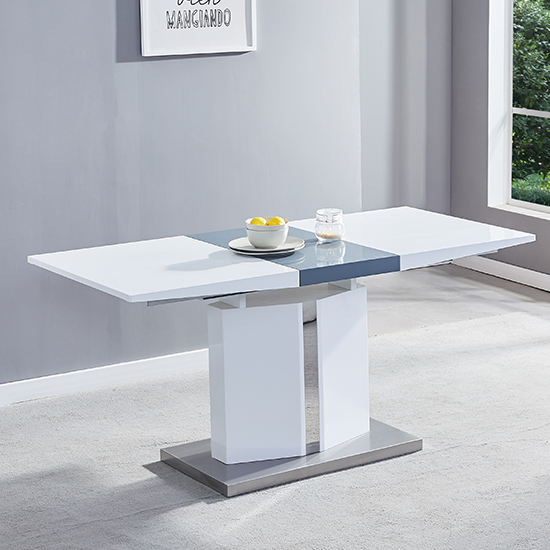 Belmonte Small Extending Dining Set With Bench In Grey White_3