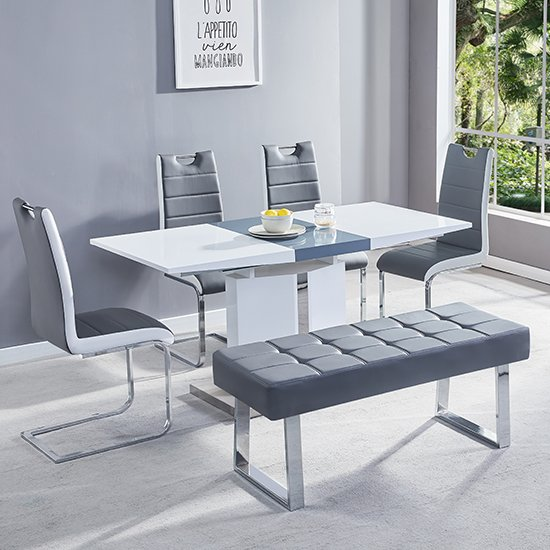 Belmonte Small Extending Dining Set With Bench In Grey White_1