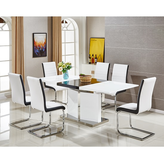 Belmonte Extendable Dining Table Large With 8 White Chairs_1