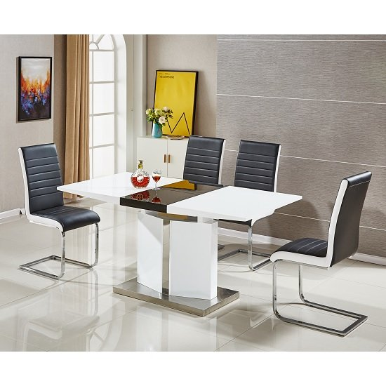 Belmonte Extendable Dining Table Small In White And Black Gloss_3