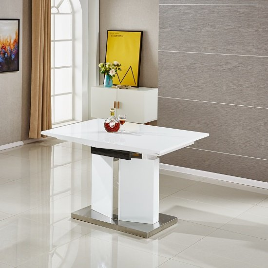 Belmonte Extendable Dining Table Small With 6 White Chairs_2
