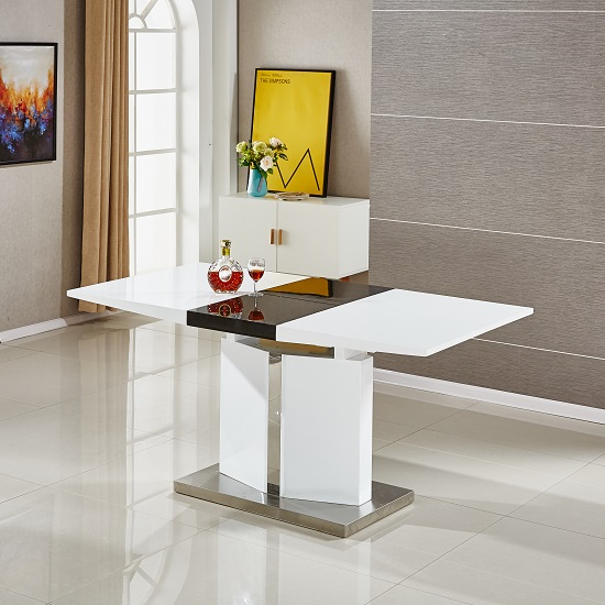 Belmonte Extendable Dining Table Small With 6 White Chairs_3