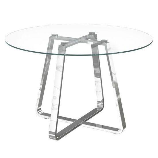 Belper Round Clear Glass Dining Table With Chrome Frame