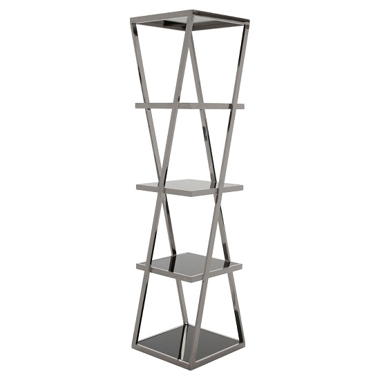 View Orion black glass 5 tier shelving unit with silver metal frame