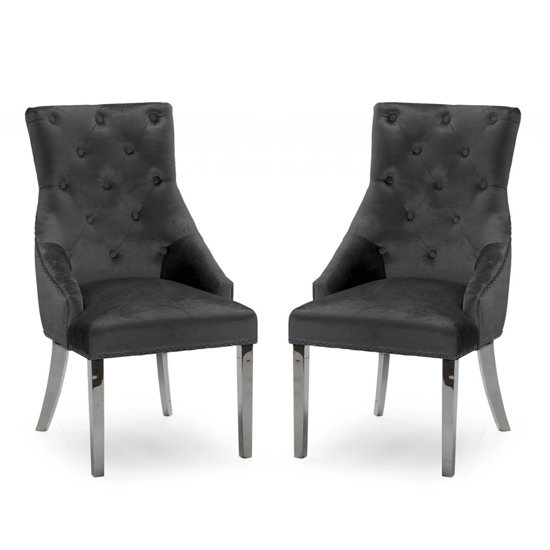Belvedere Knockerback Charcoal Velvet Dining Chairs In Pair