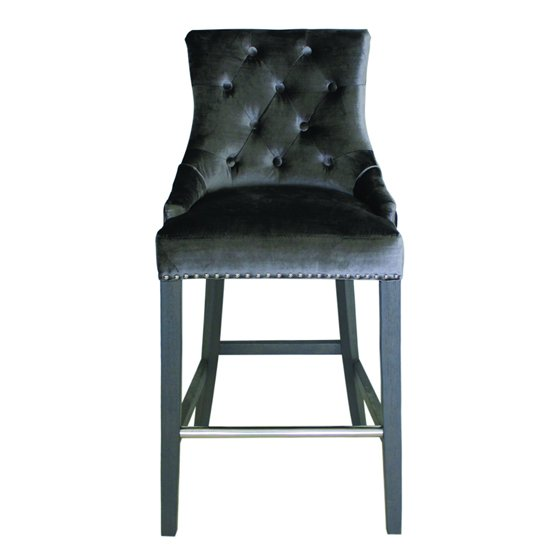 Belvedere Knockerback Velvet Bar Stool In Charcoal