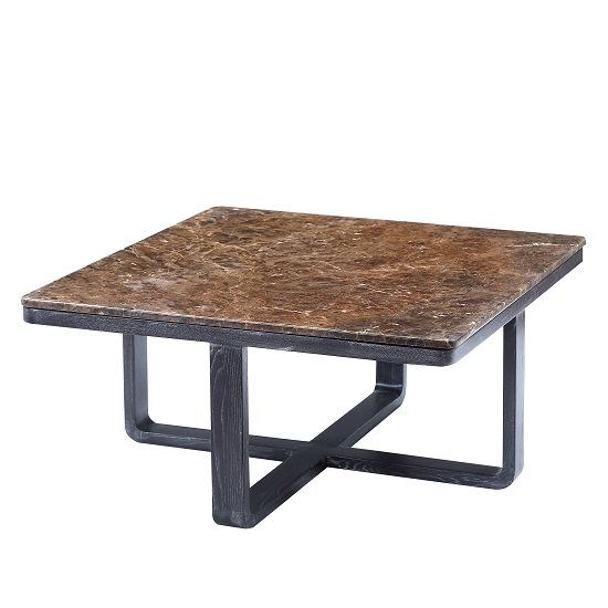Belvedere Marble Coffee Table Square In Brown