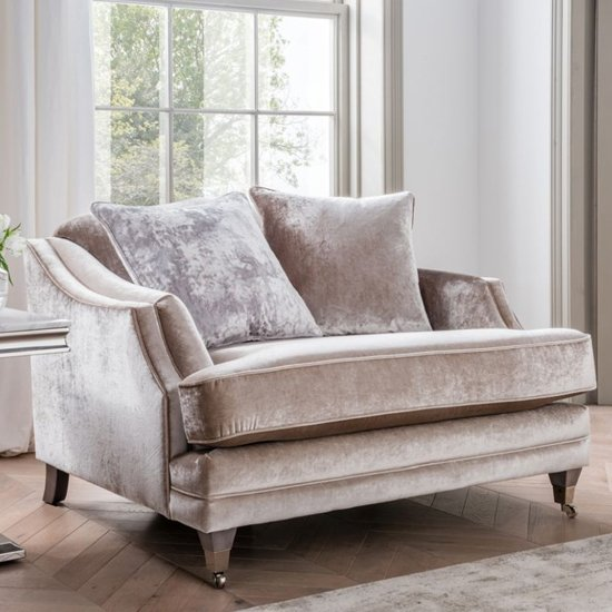 Belvedere Velvet 1 Seater Sofa In Champagne With 2 Scatters