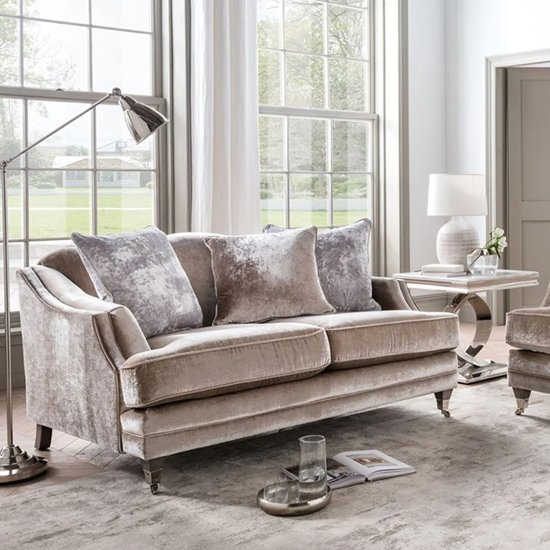 Belvedere Velvet 2 Seater Sofa In Champagne With 3 Scatters