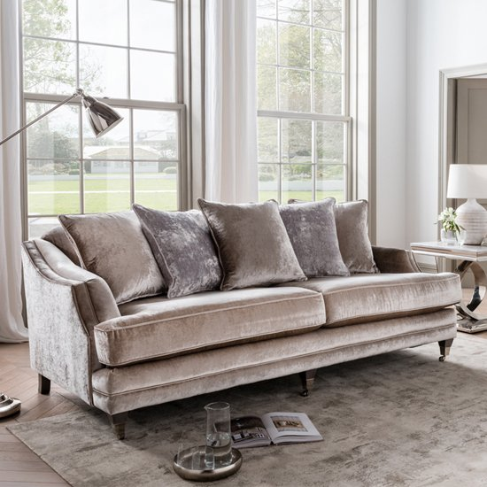 Belvedere Velvet 4 Seater Sofa In Champagne With 5 Scatters