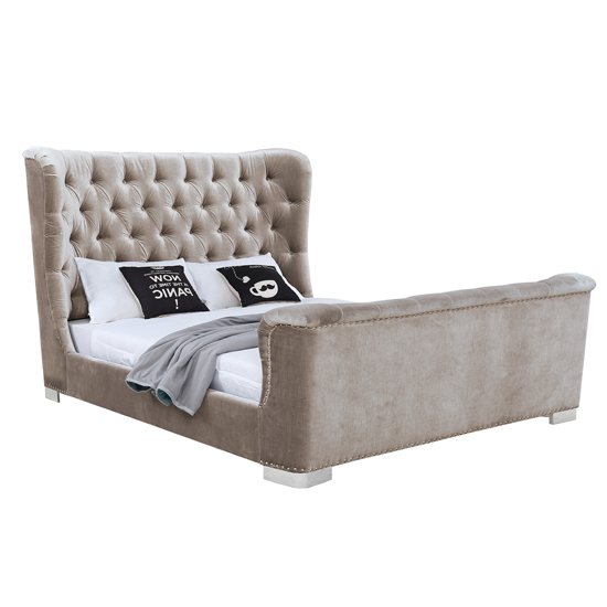 Belvedere Velvet Upholstered Super King Size Bed In Champagne_1