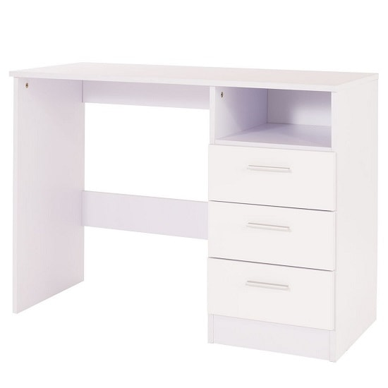 Belvoir Computer Desk In White With High Gloss Fronts