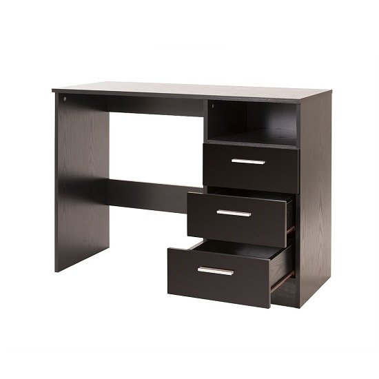 Belvoir Computer Desk In Black With High Gloss Fronts_2