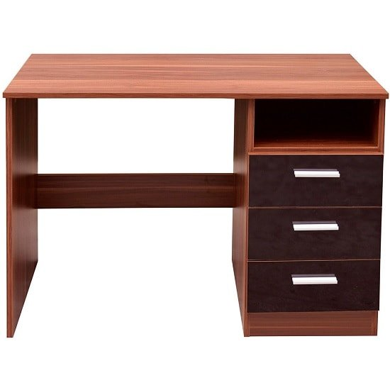 Belvoir Computer Desk In Walnut With Black High Gloss Fronts