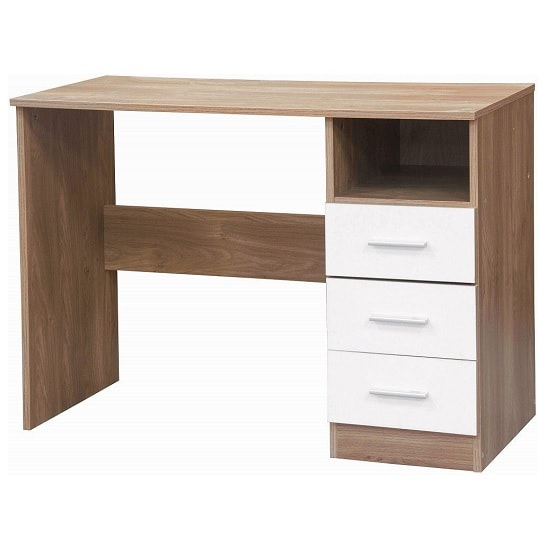 Belvoir Computer Desk In Oak With White High Gloss Fronts