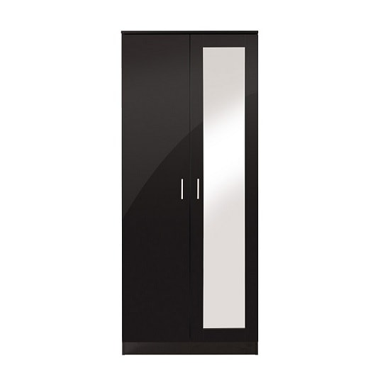 Belvoir Mirrored Wardrobe In Black With High Gloss Fronts_3