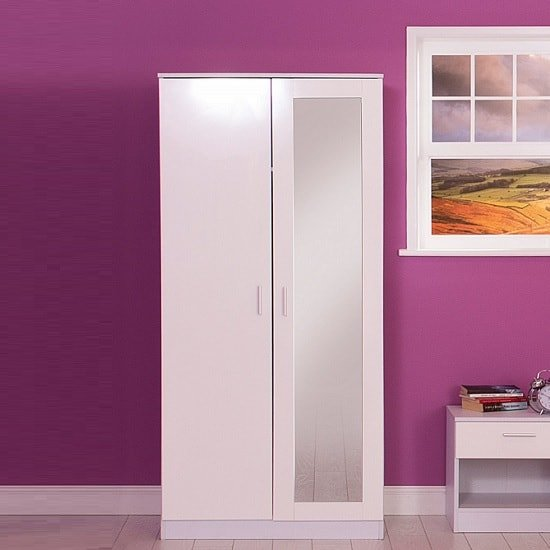 Belvoir Mirrored Wardrobe In White With High Gloss Fronts_1
