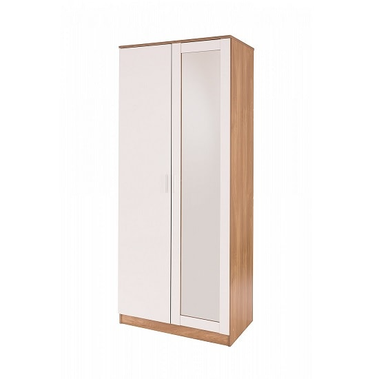 Belvoir Mirrored Wardrobe In Oak And White High Gloss Fronts