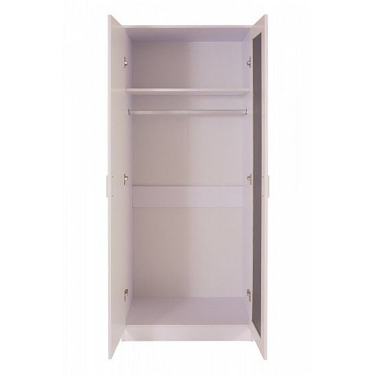 Belvoir Mirrored Wardrobe In White With High Gloss Fronts_2