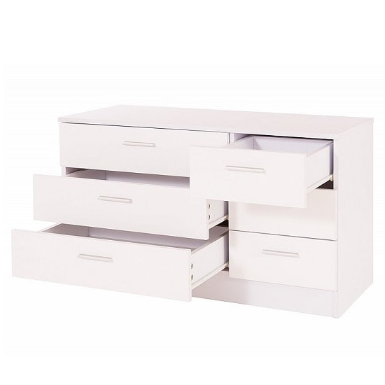 Belvoir Chest Of Drawers Wide In White With High Gloss Fronts_2