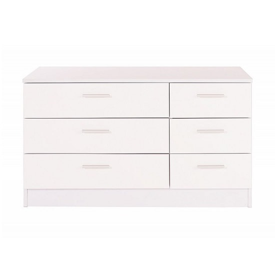 Belvoir Chest Of Drawers Wide In White With High Gloss Fronts_3