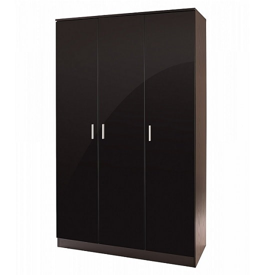 Belvoir Large Wardrobe Large In Black With High Gloss Fronts