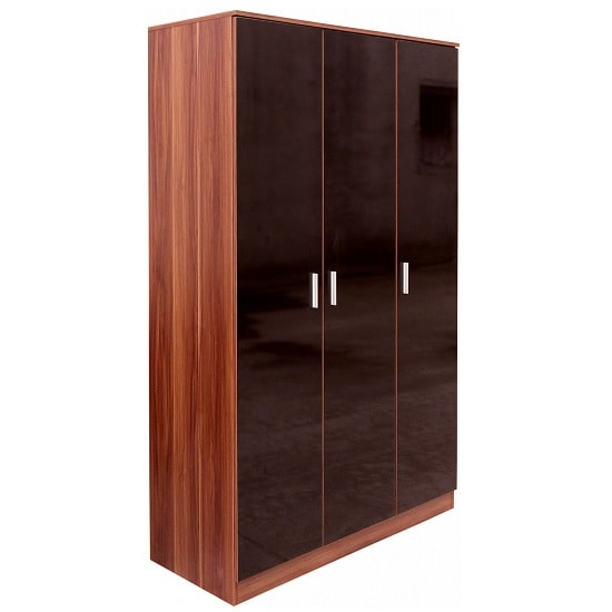 Belvoir Large Wardrobe In Walnut With Black High Gloss Fronts_1