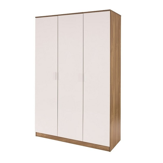 Belvoir Large Wardrobe In Oak With White High Gloss Fronts