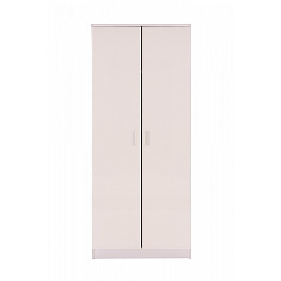 Belvoir Wooden Wardrobe In White With High Gloss Fronts