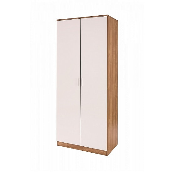Belvoir Wooden Wardrobe In White High Gloss And Oak