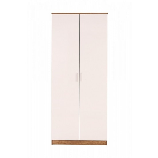 Belvoir Wooden Wardrobe In White High Gloss And Oak_3