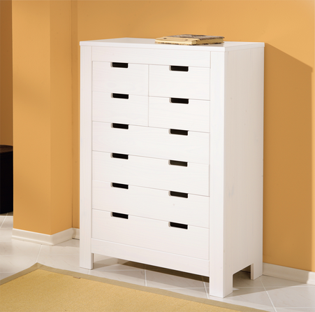 BEN Solid White Pine Chest of 8 Drawers