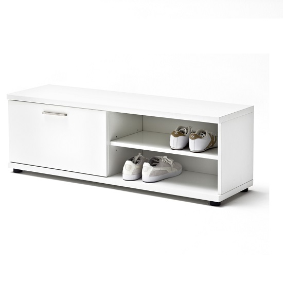 Read more about Corona hallway bench in white gloss with storage