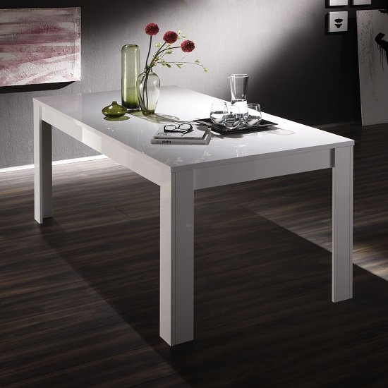 Benetti Large Dining Table Rectangular In White High Gloss