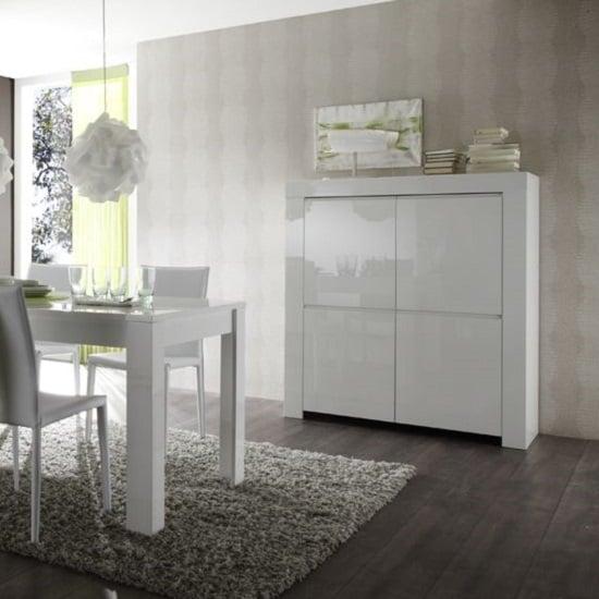 View Benetti modern highboard in white high gloss with 4 doors