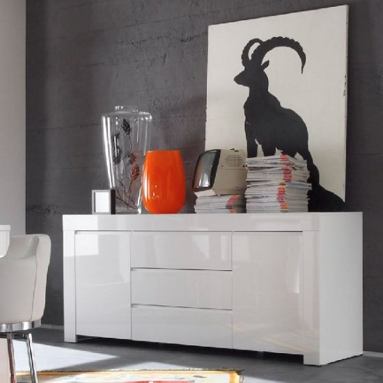 Benetti Sideboard In White High Gloss With 2 Doors And 3 Drawers