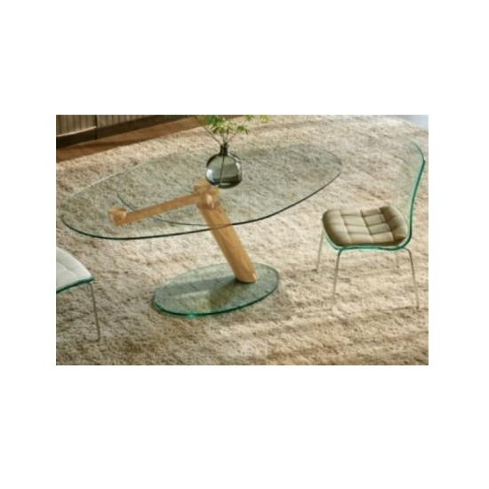 Benita Elliptical Glass Coffee Table In Clear And Rosegold
