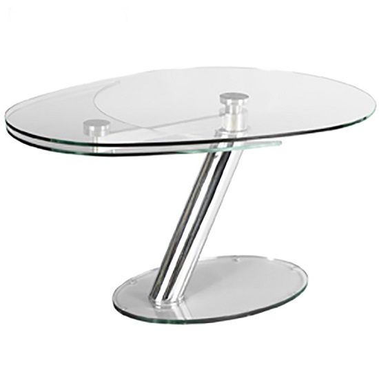 Benita Elliptical Glass Coffee Table In Clear And Silver